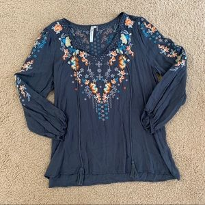 Andree Blue Embroidered Top